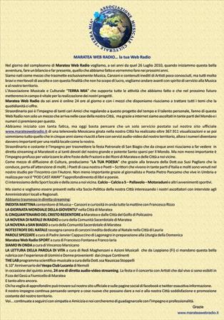 MANIFESTO MARATEA WEB RADIO 6 anni 26.07.2016